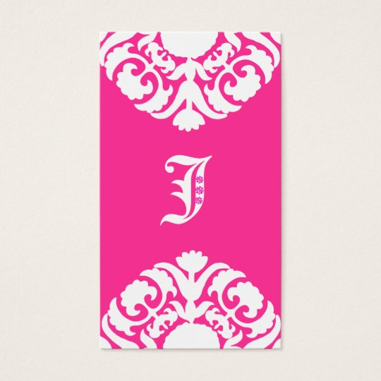 Jewellery Business Cards Damask Monogram PInk