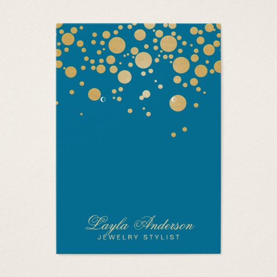Jewellery Earring Display Card Gold Dots Blue