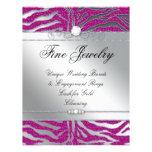 Jewellery Flyer Hair Salon Zebra Sparkle Pink Silv
