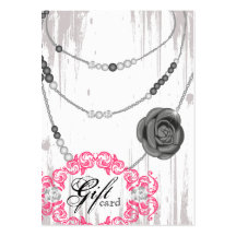 Jewellery Gift Card Rose Necklace Diamonds Grey Business Card