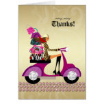 Jewellery Purses Thank You Card Scooter Girl Pink