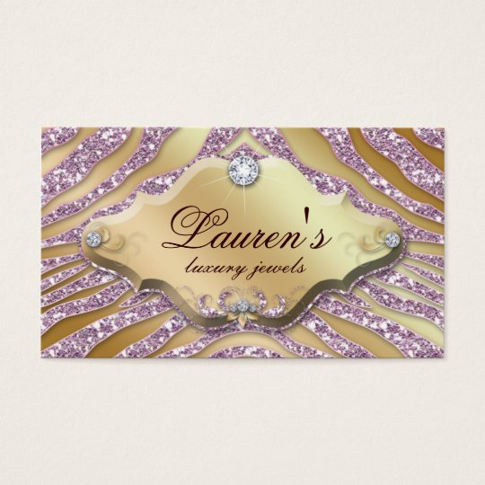 Jewellery Zebra Business Card Sparkle Pink Gold