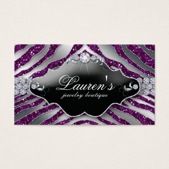 Jewellery Zebra Business Card Sparkle Purple SB