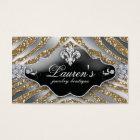 Jewellery Zebra Fleur de lis Sparkle Gold Business Card