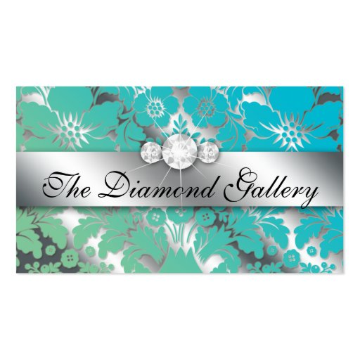 Jewelry Business Card Damask Floral Silver BG
