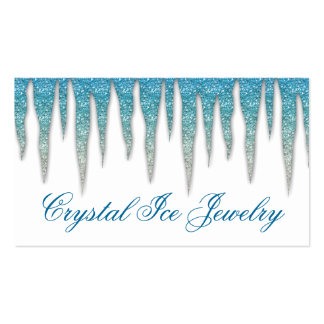 Jewelry Business Card Icicle Blue Silver