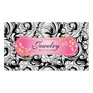 Jewelry Business Card SALE Swirls Black Pink Gold