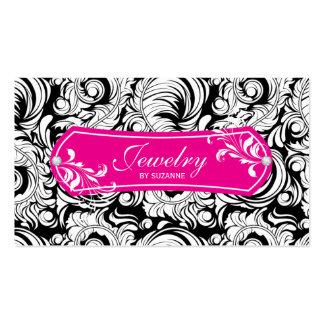 Jewelry Business Card Swirls Black Pink Gold