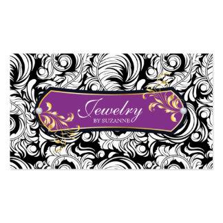 Jewelry Business Card Swirls Black Purple