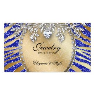 Jewelry Business Card Zebra Glitter Blue Gold