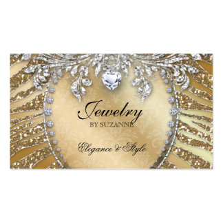 Jewelry Business Card Zebra Glitter Gold