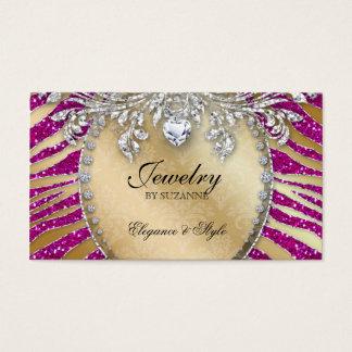Jewelry Business Card Zebra Glitter Pink Gold