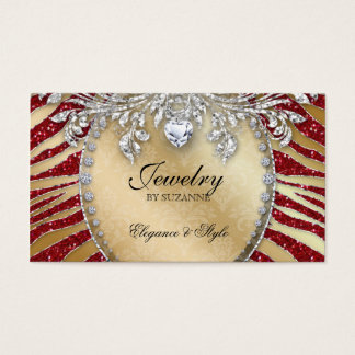 Jewelry Business Card Zebra Glitter Red Gold
