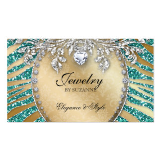 Jewelry Business Card Zebra Glitter Teal Gold