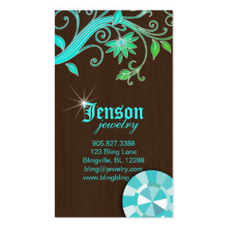 Jewelry Business Cards Flower Crystal Blue Sparkle