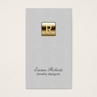 Jewelry Designer Gold Monogram Classy Leather Business Card