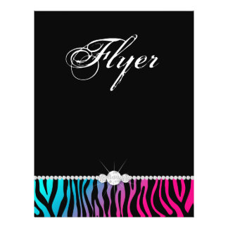 Jewelry Flyer Hair Salon Zebra Pink Blue Purple