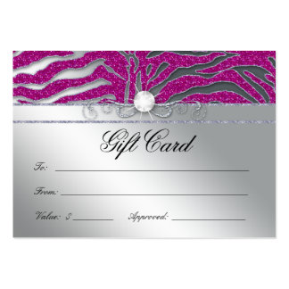 Jewelry Gift Card Luxury Zebra Pink Silver Sparkle Business Card Templates