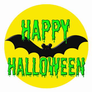"Jewelry - Pin - Batty ""Happy Halloween"" Photo Sculpture Badge"