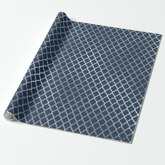 Jewelry Quatrefoil Art Deco Blue Navy Silver Wrapping Paper