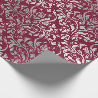 Jewelry Royal Damask Floral Maroon Burgundy Silver Wrapping Paper