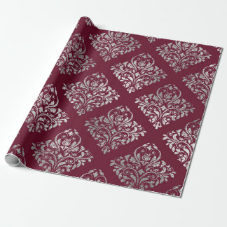 Jewelry Royal Damask Maroon Burgundy Vip Silver Wrapping Paper