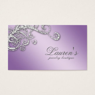 Jewelry Swirl Business Card Glitter Diamond Purple