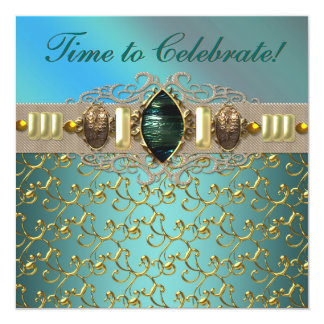 Jewels Emerald Teal Blue Gold Birthday Party Card