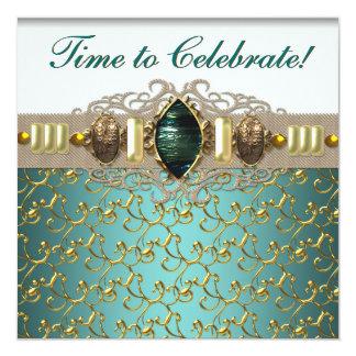 Jewels Emerald Teal Blue Jade Gold Birthday Party Custom Invites
