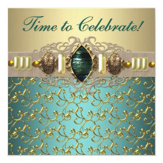 Jewels Emerald Teal Blue Jade Gold Birthday Party Custom Invitation