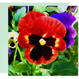 Jewels in the Garden Pansy Card 13 Cm X 13 Cm Square Invitation Card