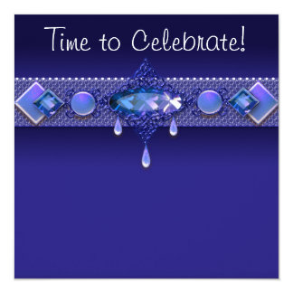 Jewels Royal Navy Blue Womans Birthday Party 13 Cm X 13 Cm Square Invitation Card