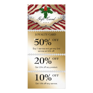 Jewels Spa Christmas Coupon Zebra Gold Red Rack Cards