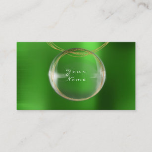 Green emerald gold business cards zazzle uk jewely stylist gold glass ball emerald green metal business card reheart Gallery