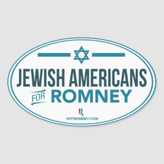 Jewish Americans For Mitt Romney 2012 Oval Sticker