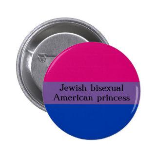 Jewish and bi 6 cm round badge