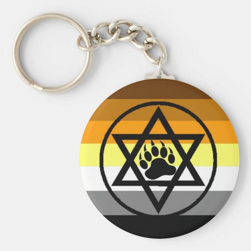 Jewish Bear Pride Flag Basic Round Button Key Ring