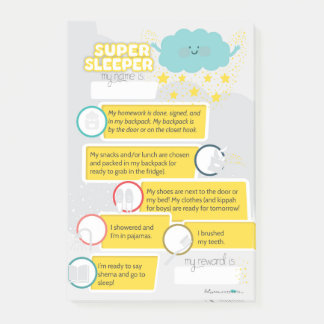 JEWISH BEDTIME CHECKLIST POST-IT NOTES