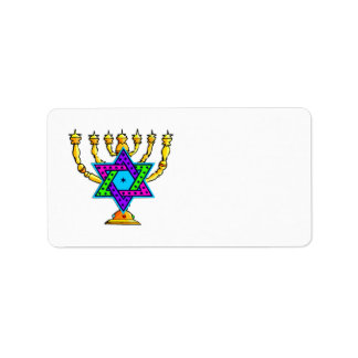 Jewish Candlesticks Address Label