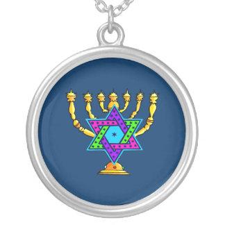 Jewish Candlesticks Round Pendant Necklace