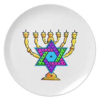 Jewish Candlesticks Party Plate