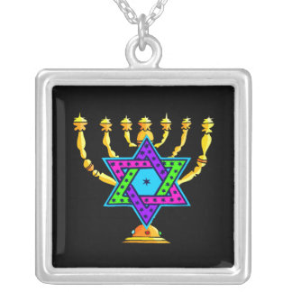 Jewish Candlesticks Square Pendant Necklace