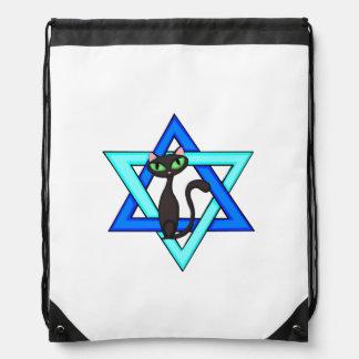 Jewish Cat Stars Drawstring Backpacks