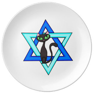 Jewish Cat Stars Porcelain Plate