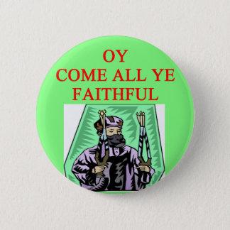 jewish channukah carol 6 cm round badge