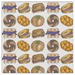 Jewish Deli Food Bagel Knish Challah Blintz Fabric