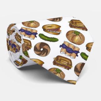Jewish Deli Reuben Blintz Bagel Pickle Foodie Tie