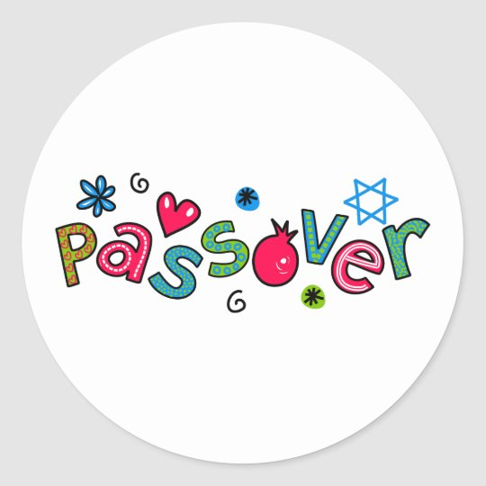 Jewish Festival of Passover Text Greeting Classic Round
