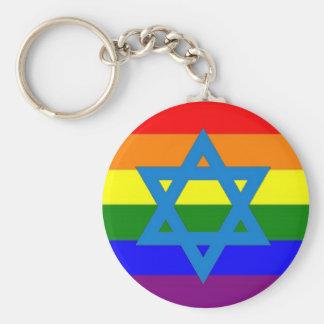 Jewish Gay Pride Flag Key Ring
