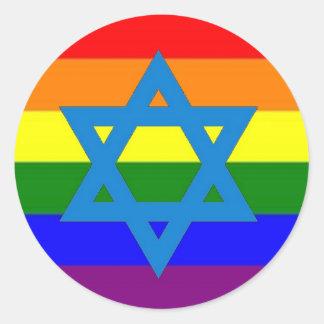 Jewish Gay Pride Flag Round Sticker